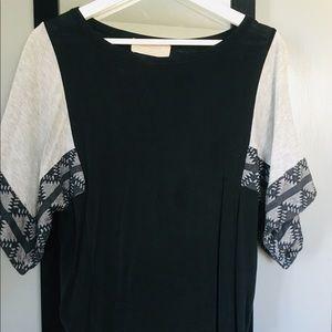 Zara navy jersey cape tee w/ embellished sleeves